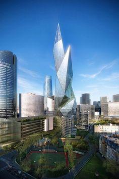 Daniel Libeskind, Studio Daniel Libeskind, La Defense, Paris, France, The Tour Signal La Defense, architectural competition, tower, high-ris...