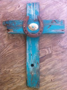 Turquoise Rustic Cross with Horseshoe and Concho by WesternSunset, $28.00