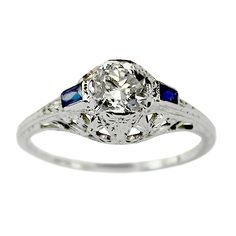 @Ashling Ivers Marietta Vintage Diamond and Sapphire Engagement Ring circa 1950 | Vintage Engagement Rings | Turtle Love Co. Jewelry