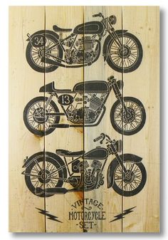 """Wile E. Wood """"Vintage Motorcycle"""" Wall Art, 14 by 20-Inch Wile E. Wood"""