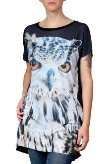 Comprar camiseta-vestido-estampa-coruja-usenatureza