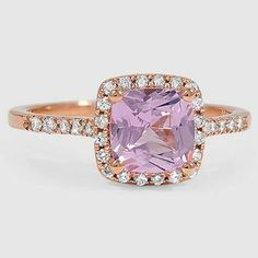 14K Rose Gold Sapphire Sonora Halo Diamon Ring // Set with a 6.5mm Light Pink Cushion Sapphire (From Unique Colored Gemstone Gallery) #BrilliantEarth