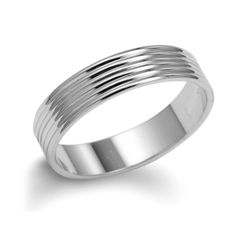 Polished Multi Groove Wedding Band In 14K White Gold