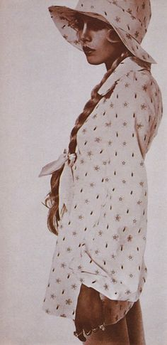 Cotton lawn mini-dress from Biba mail-order catalogue. Model: Elizabeth Bjorn Neilson, Photographer: Harri Peccinott...