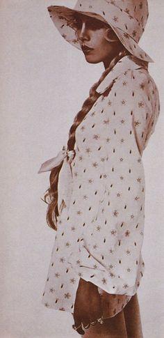 Cotton lawn mini-dress from Biba mail-order catalogue. Model: Elizabeth Bjorn Neilson, Photographer: Harri Peccinotti.
