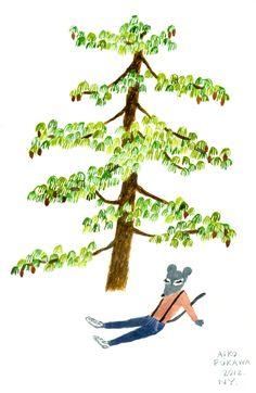 Mouse Under Pine Tree Aiko Fukawa just chillin' chilling mice trees amazing cool unique artwork illustration design style art