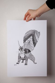 Items similar to squirrel illustration graphic print on Etsy Squirrel Illustration, Illustration Art, Mooncake, Squirrels, Pinterest Board, Graphic Prints, Drawings, Pretty, Handmade