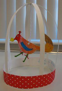 Art. Paper. Scissors. Glue!: Bird Cage Sculptures, craft, elementary school, knutselen, kinderen, kleuters, basisschool, vogelkooi met vogel van papier, seizoenen, feest, verjaardagsmuts