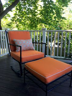 """Old chair and ottoman found at estate sale. Needed paint and new cushions - looks brand new now!"" 