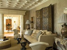 Mediterranean Living-rooms from Barry Dixon on HGTV __ Notice the ceiling work and columns.