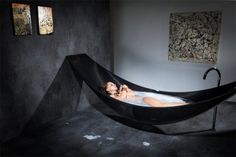 Suspended Bathtub: Hammock + Tub = Supreme Relaxation