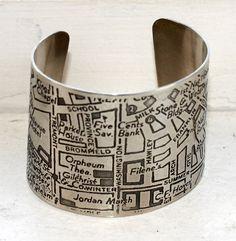 Boston Map Etched Cuff Bracelet