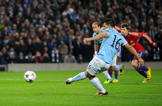 Sergio scores his first against CSKA Moscow at Etihad