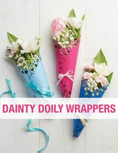Dainty Doily Flower Wrapping | Martha Stewart Living - Brighten up Mom's blossoms for Mother's Day with a colorful paper wrap you made yourself. For an extra touch of flair, tie it with a satin ribbon.