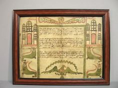 FRAKTUR. Hand painted by Christian Mertel, a school master in Dauphin County, Pennsylvania ca. 1770 - 1800. The tall, castle like buildings with arched windows are typical of his work. Salmon pink and green watercolor buildings, crowned lions with human faces, an American eagle and an angel with inked text for the birth and baptism of George Stober, born November 21, 1800 in York County, Pennsylvania. Stains and fold lines with some damage and an additional strip on one side. Modern molded…