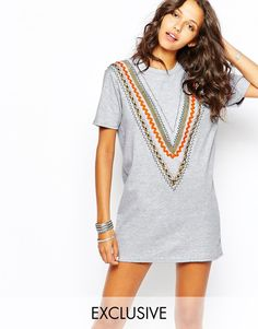Image 1 of Reclaimed Vintage Multi Braid Trim Tee Dress
