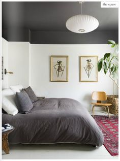 Dark ceiling + band at top of room, rich textiles - Covet Garden Issue 56