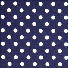 blue Michael Miller fabric small white polka dots