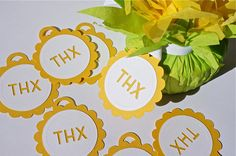 Thank You Favor Tags Set of 20 in Yellow & White