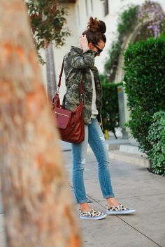 Camo Jacket and leopard shoes