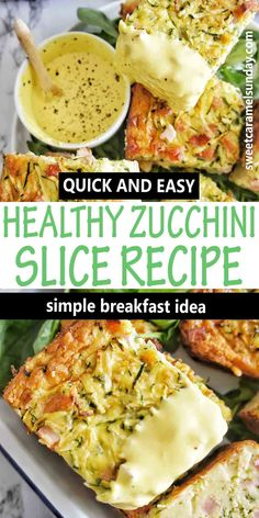Healthy low carb Zucchini Slice is an easy oven baked recipe. This savory slice is packed with zucchini and bacon with a little cheesy deliciousness! #healthyrecipes @sweetcaramelsunday