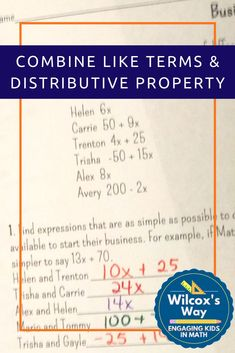 This will really help students in middle school math understand how to combine like terms and use the distributive property. Students will also use multiple representations of algebraic expressions. Simplifying Expressions, Algebraic Expressions, 8th Grade Science, 7th Grade Math, Ninth Grade, Seventh Grade, Math Properties, Combining Like Terms, Middle School Literacy