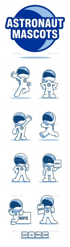 Astronaut Mascots Vector EPS, AI Illustrator. Download here: https://graphicriver.net/item/astronaut-mascots/12802039?ref=ksioks