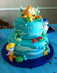 Bubble guppies cake, buttercream with fondant accents