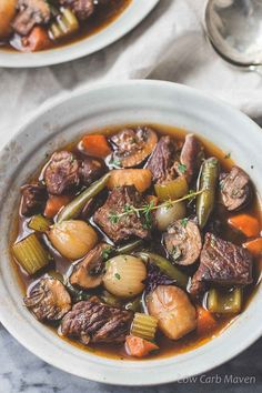 Low carb beef stew recipe - a better and heartier version of vegetable beef soup. Suitable for Low carb, Keto, Atkins, THM and Paleo Diets. Whole30 compliant.
