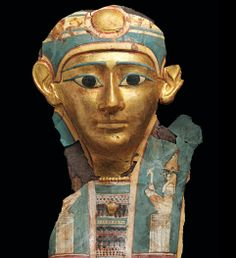 Egyptian gilded and painted cartonnage mummy mask, Ptolemaic period, 4th-3rd century B.C.