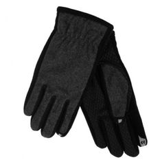 These warm gray and black trimmed smart touch gloves have a sleek fit, warm fleece lining, and fingertips that allow you to use your iphone, ipod, or other touch screen device while your gloves are on! Size: Mens Medium, Large, or X-Large Brand: Isotoner Style: Touchscreen texting gloves Materials: 43% Wool, 41% Polyester, 6% Acrylic, 5% Rayon...