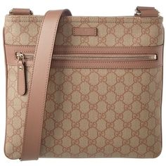Gucci Gucci Gg Supreme Canvas & Leather Messenger | Bluefly.Com ($656) ❤ liked on Polyvore featuring bags, messenger bags, handbags, natural, brown canvas messenger bag, brown messenger bag, gucci bags and leather messenger bag
