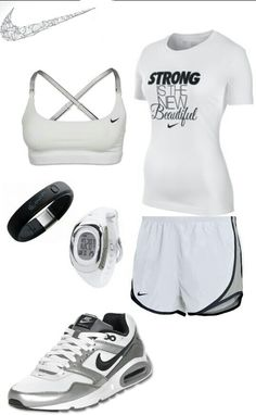 White gray nike outfit