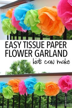 A new twist on a classic craft - let the kids help make this easy tissue paper flower garland! Perfect for summer decor or a flower craft, this DIY garland was inspired by this month's Family Dinner Book Club book, Sona and the Wedding Game!