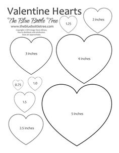 Valentine Hearts Clip Art in sizes ranging from 3/4 to 5 printing on either