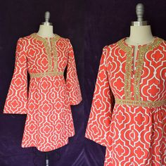 Vtg 60s mod medallion lattice gold embroidered trim scooter hippie tunic dress S #Handmade #Tunic #Casual