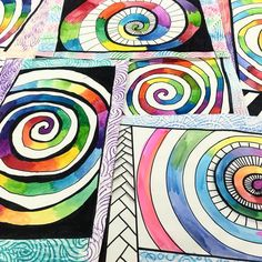 A few more watercolor spirals from last week. Color and frame design was up to A few more watercolor spirals from last week. Color and frame design was up to graders. Original source of inspiration came from… Classroom Art Projects, School Art Projects, Art Classroom, 6th Grade Art, Watercolor Projects, Spring Art, Middle School Art, Art Lessons Elementary, Elements Of Art