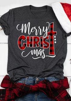 Plaid Christ Merry Christmas T-Shirt Tee - Gray - Fairyseason Merry Christmas, Christmas Shirts, Family Christmas, Christmas Outfits, Plaid Christmas, Xmas, Vinyl Shirts, Tee Shirts, Christen
