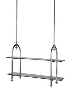 Stylishly handy — perfect over an island. Europa Hanging Grocery Shelves, shown in polished nickel, $995. Howard Kaplan, howardkaplandesigns.com.