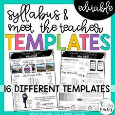 Syllabus and Meet the Teacher Editable. by Martina Cahill - The Hungry Teacher Syllabus Template, Meet The Teacher Template, High School Classroom, Upper Elementary, Infographic Templates, Algebra, Middle School, Teaching, Education