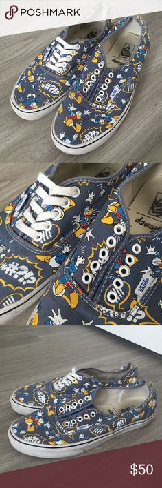 RARE Disney Vans Donald Duck Vans Men's sz 11.5 Purchased too small bc they were limited edition and didn't have my size. Wore to Disneyland a few times but they're too small for comfort. One shoe is missing the shoe string(I used it as a belt on vacation and now I can't find it, so sorry!) these are hard to find, especially in a bigger size bundle and I'll send you a discount. Vans Shoes Sneakers