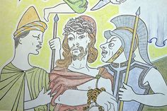 Le Christ aux Outrages .Chapelle Notre Dame de Jérusalem dite la chapelle Cocteau parce qu'elle a été dessinée par Jean Cocteau. Fréjus. Provence-Alpes-Côte d…