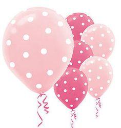 20 PINK & LIGHT PINK POLKA DOT BIRTHDAY PARTY BALLOONS
