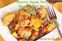 Butternut Squash, Sweet Potato and Peach Bake - healthy, delicious, wonderful! #glutenfree #vegan #casserole #butternutsquash #sweetpotatoes #peaches via Can't Stay Out of the Kitchen