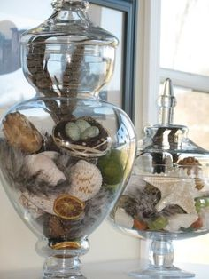 All kinds of apothecary jar decorating ideas to DIY. Tall Glass Vases, Glass Jars, Mason Jars, Apothecary Jars Decor, Cloche Decor, Pinterest Decorating, Jar Fillers, The Bell Jar, Vases Decor