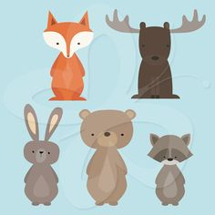 Kawaii Woodland avec Clip Art images Clipart par CollectiveCreation