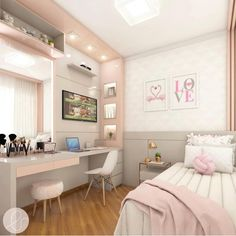 Room decor - Project @ architect leticiasantana And always a love project for girls ! Look at this room, has no charm With a lot of … architectleticiasa Cute Bedroom Ideas, Cute Room Decor, Girl Bedroom Designs, Room Ideas Bedroom, Small Room Bedroom, Girls Bedroom, Bedroom Decor, Childrens Bedroom, Bedroom Lighting