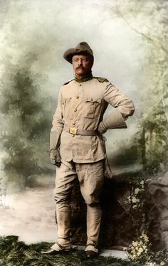 Theodore Roosevelt as colonel of the First United States Volunteer Cavalry (The Rough Riders). From a photograph by Rockwood, New York. Theodore Roosevelt, Roosevelt Family, President Roosevelt, Vice President, Alice Roosevelt, Roosevelt Quotes, The Spanish American War, American History, Early American