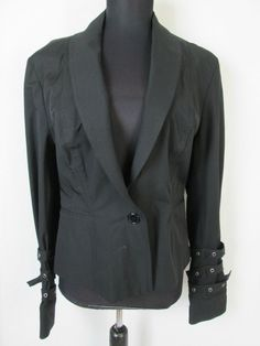 Cache Black Jacket with Buckles and Belts size 12 #Cacheacute #BasicJacket