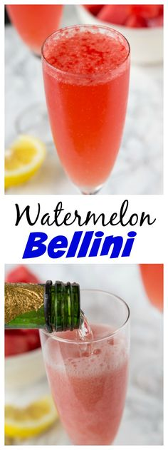 TwitterGoogle+YummlyPinterestStumbleUpon Watermelon Bellinis – a fun summer twist on the classic Bellini using fresh watermelon. A refreshing cocktail recipe for a summer get together.